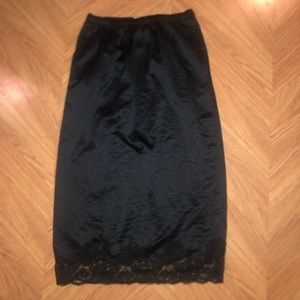 NEW Hinge black silk/lace midi slip skirt